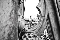 Milan Duomo perspective bw (James Warwood) Tags: city blackandwhite italy white black milan rooftop church nikon milano perspective dome duomo d5000 pse8