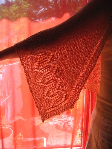 comfort shawl in red light