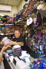 The West Jerusalem Kippa Man (bernhard.jeffrey) Tags: shop d50 israel nikon jerusalem jew kippa kippaman