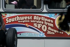 not quite a lie... (bkusler) Tags: sanfrancisco southwest bus sfo ad advertisement virgin muni transit airline southwestairlines swa virginamerica