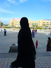 Woman In Burka In Kashgar, China (spearhawk) Tags: china road woman highway id hijab silk mosque modesty xinjiang karakoram kkh kashgar niqab burka kah flickrscorer155
