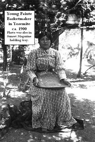 Yosemite Native American Indian - Paiute girl holding tray ca. 1900 in Yosemite Valley