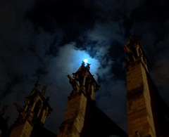 Notre Dame - the Gargoyles are watching (Soller Photo) Tags: trip travel vacation sky moon paris france church statue mystery architecture night clouds dark religious evening scary nikon europe honeymoon cathedral religion gothic masonry d2x eerie notredame spooky gargoyle masons mysterious historical frightening cityoflights gothicarchitecture supershot cathedraldenotredame sollerphoto theperfectphotographer