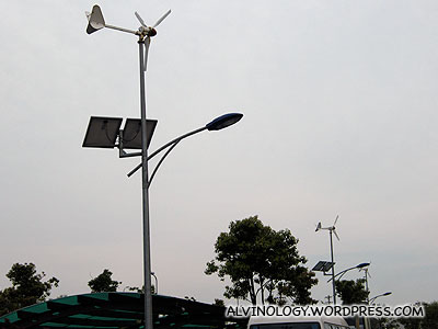 Spotted these wind-turbine-powered street lamps