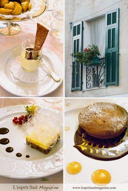 Desserts: Panna Cotta, Chocolate and sabayon fondant with a sugar dome and red berries, and Warm chocolate moelleux with a coulis of pears. (Ristorante La Conchiglia)