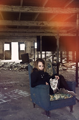 (yyellowbird) Tags: house abandoned girl barn lights illinois chair cari rockford
