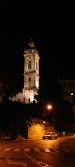 church tower (☼ Helder) Tags: road street black tower portugal church car night lamps covilhã utata:project=justblack