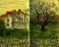 A Dreamers Travel Destination (Lucia Whittaker) Tags: house colour tree art moleskine home field silhouette night pencil book corn drawing sleep pastel gothic dream surreal adventure lucia collectivedreamjournal