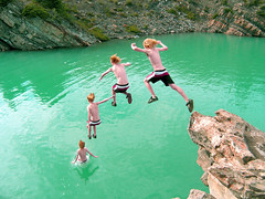 Greggins Jumping green water (I voted for Kodos) Tags: cliff jumping clones sequence clone leap cliffjumping blend photostitch lunge cliffjump greggins