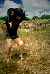 Kimm 07 (Matsuo Amon) Tags: blue sky cloud white tree nature face grass shirt dark hair rocks pretty afternoon shot arms pants stuck legs head hill wide perspective skirt hidden soil lane gradient land heels corset knee twigs tone