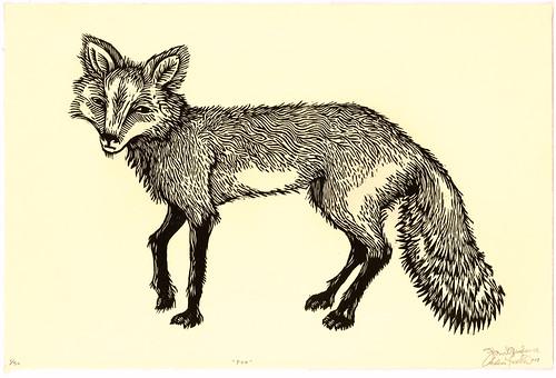 """Fox"" (woodcut print)"