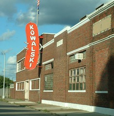 Kowalski Hot Dog Plant in Hamtramck (DetroitDerek Photography ( ALL RIGHTS RESERVED )) Tags: camera old red food usa brick make sign digital hotdog midwest factory fuji zoom hamtramck michigan detroit sausage poland polish icon meat billboard finepix produce local product weiner holbrook 1920 2007 manufacture 313 damncool motown s602