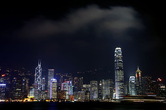 Hong Kong (Alex Bramwell) Tags: china travel sunset urban skyline night skyscraper buildings island hongkong lights evening asia view illuminated nightime vista kowloon