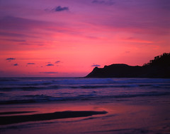 All the colors of the world at Cape Kiwanda (Zeb Andrews) Tags: ocean pink sunset beach oregon landscape purple pacificocean pacificnorthwest capekiwanda fujivelvia pentax6x7 bluemooncamera zebandrews zebandrewsphotography