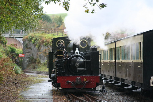 Vale of Rheidol #8 runs round at Devil