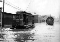 16th and Folsom Streetcars in flood