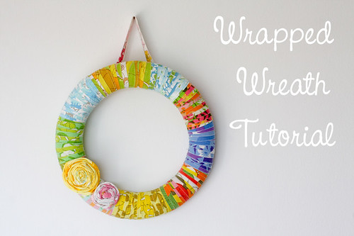 Fabric Scrap Wrapped Wreath Tutorial