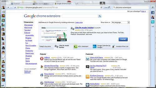 chrome extensions で検索