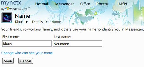 Edit your Windows Live Profile name