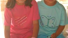 T-shirts coração e borboleta
