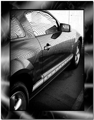 speed (shaney442) Tags: auto door blackandwhite bw ford car mirror automobile mustang photoshoproyalty