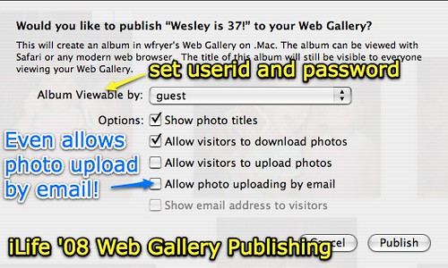 iWeb 08 Web Gallery Publishing Options