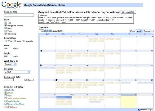 Calendar embedden - neu