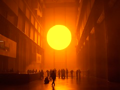 The Weather Project (wonderferret) Tags: orange sun london art 2004 silhouette yellow tatemodern weatherproject crapcam olafureliasson