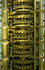 Detail, Babbage's Difference Engine No. 1, 1839 (f0rbe5) Tags: uk england building london museum computer 350d engine machine icon science difference tables government british kensington iconic mathematical sciencemuseum no1 2007 babbage differenceengine celebrated prehistory charlesbabbage 1833 mathematician 1823 britishgovernment errorfree automaticcalculator earliestautomaticcalculator errorfreemathematicaltables mathematicaltables