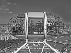 Top of the World (shutterBRI) Tags: city uk travel england people bw london glass monochrome wheel architecture canon photography photo high ride unitedkingdom londoneye tourist powershot ferriswheel tall britishairways 2007 a630 shutterbri brianutesch flickrchallengegroup brianuteschphotography