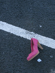 white line pink shoe (ewjz31) Tags: uk pink abandoned shoe stanley countydurham pinkshoe northeastofengland