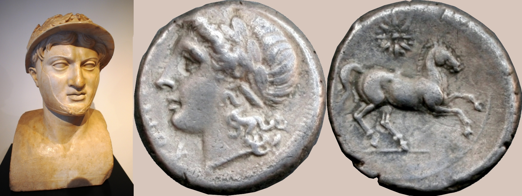 15/1 coin of Consuls Publius Decimus Mus and Publius Valerius Laevinus, with bust of Pyrrhus, winner of Pyrrhic victories at Heraclea 280BC and Asculum 279BC
