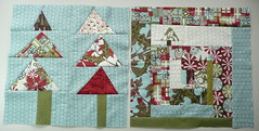 Bee blocks for Tiffany (janssendesigns) Tags: quilt moda logcabin christmastrees wonky figgypudding beeautifulquiltingbee beelblocks