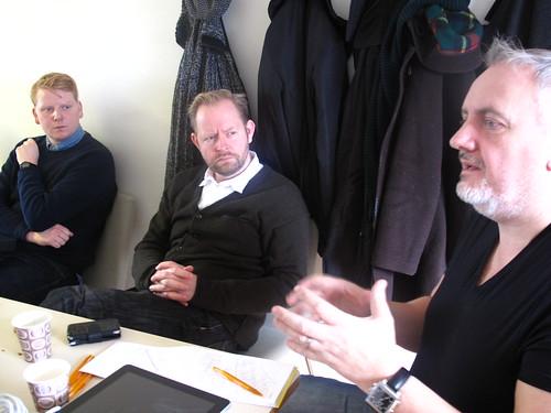 Kalle (Hybris & bokensframtid.se), Daniel (Sydsvenskan) och Claes (Malmö yrkeshögskola)