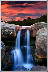 Sunset Cascade (down_the_rabbit_hole) Tags: sunset fab sky water clouds river landscape waterfall bravo rocks dusk cottoncandy waterblur creel naturesfinest supershot magicdonkey outstandingshots mywinners colorphotoaward colourphotoaward holidaysvacanzeurlaub superbmasterpiece diamondclassphotographer bestofaustralia onlythebestare alemdagqualityonlyclub