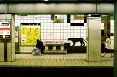 strange station (troutfactory) Tags: film station japan underground subway metro voigtlander bessa rangefinder osaka analogue midosuji blackpanther natura1600 dobutsuenmae cpaar