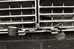 baton (tootdood) Tags: street blackandwhite sepia port geotagged manchester canon20d toned baton padlocks geo:lat=53481891 geo:lon=2231952
