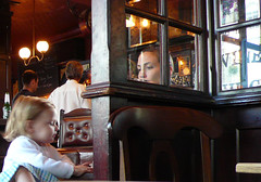 Preoccupations 1(Girl with crisps) London Pub. (cropped) P1000850 (mansionmedia simon knight) Tags: woman london girl pub child daughter mother crisps guesswherelondon contemplation preoccupation gwl angleseaarms simonknight mansionmedia selwoodterrace simonaknight misterpeter