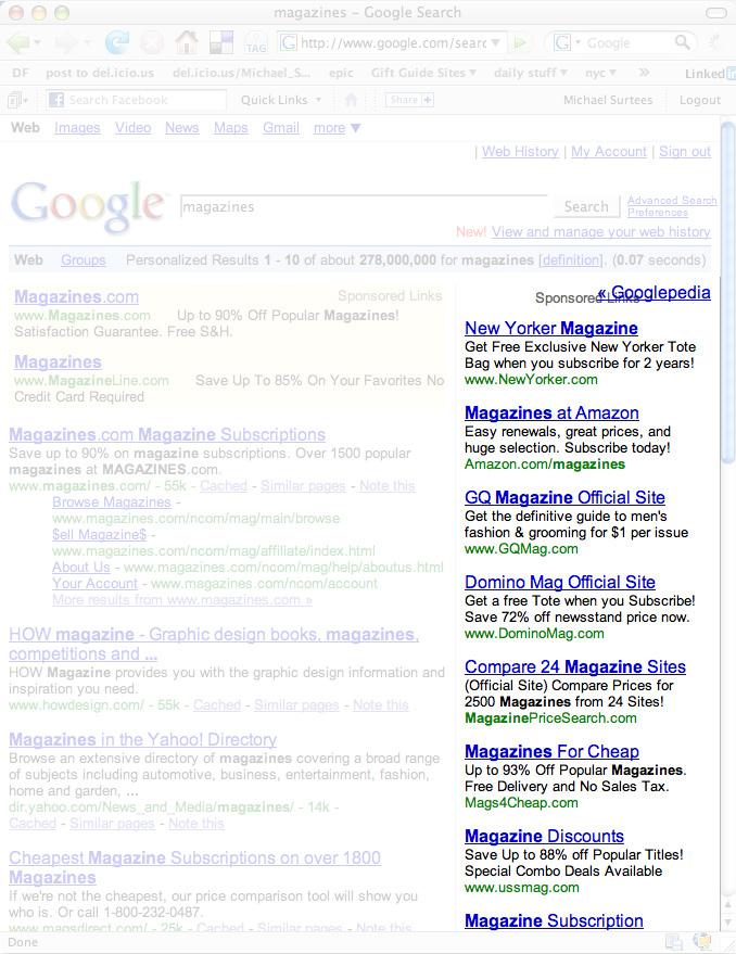 Google AdSense lines & Magazine cover lines