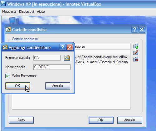 Fig. 19 - VirtualBox cartelle condivise - Aggiunta hard-disk host terminata