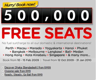 500,000 free seats