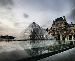 Reflections of Muse du Louvre (` Toshio ') Tags: paris france building art history museum architecture clouds french europe european pyramid artistic cloudy louvre hdr highdynamicrange palaisdulouvre impei musedulouvre toshio louvremuseum grandlouvre louvrepalace