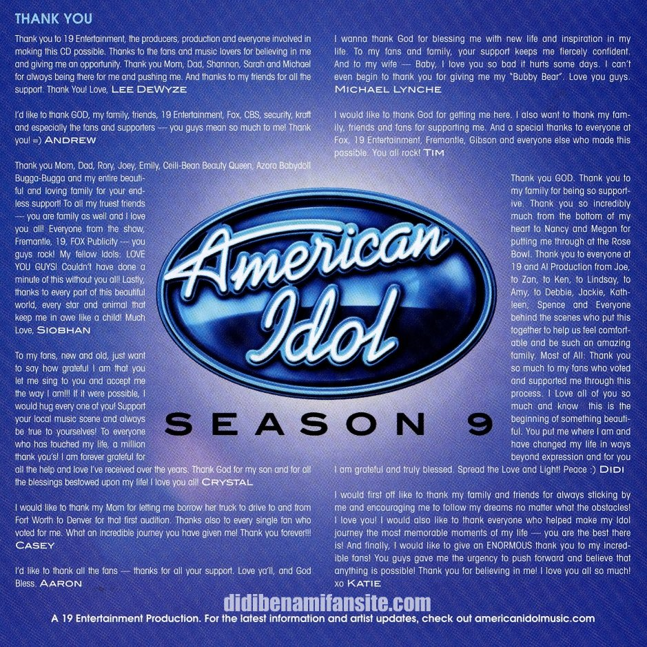 American Idol 9 Top 10 CD Thank you's