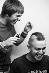 Week #7/52 (Connor Tarter) Tags: portrait bw white black laughing hair cut clip shaving shave cutting mohawk trimming trim clippers clipping connortarterconnortartercanonrebelt1iphotography