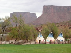 Moab, Utah, Red Cliffs Ranch, Colorado River Valley (Mary Warren 14.7+ Million Views) Tags: nature fence landscape utah nativeamerican valley coloradoriver redrocks mesas teepees moabutah