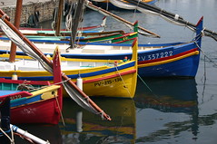 Colourful mediterranean fishing boats (ross.jolliffe) Tags: blue red sea summer france colour water yellow boat fishing mediterranean harbour sail colourful collioure southoffrance