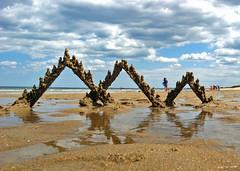 plum island #1 (sandcastlematt) Tags: sculpture reflection castle beach clouds sand massachusetts drip sandcastle sandsculpture newbury newburyport plumisland bostonist dripcastle universalhub dripsculpture