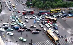 Gridlock -  Shanghai, China -   (meckleychina) Tags: china road travel urban bus geotagged asian photo asia shanghai traffic image taxi chinese picture transportation intersection   crosswalk jam shanghaiist trafficjam gridlock xujiahui xuhui zhongguo geo:country=china geo:city=shanghai geo:district=xuhui