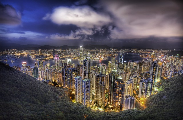 Hong Kong from the peak on a summers night high dynamic range HDR Photography inspiration and tutorial in Photoshop