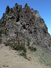 Ian, Mike, and Steve rounding Volcanic Neck on the way to Bean peak, 7.29.07.